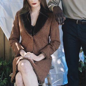 NWOT Skirt Suit Set faux fur & tweed